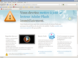 Firefox vérification version plugin Flash - Ecran d'alerte