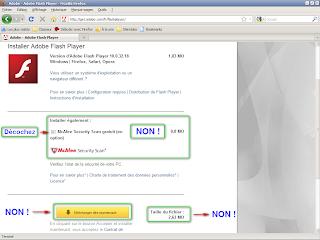 Adobe - Installation plugin Flash Player - Application tierce McAfee