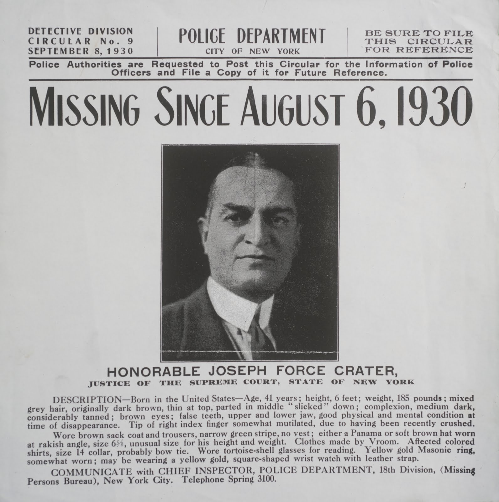 Missing Since August 6, 1930: The Man Who Never Returned  Missing Person Posters