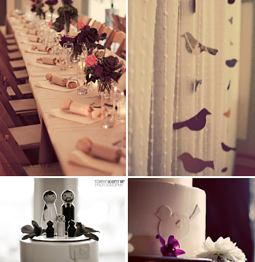 hanging paper birds wedding reception