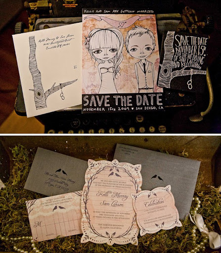 wedding save the dates with illustrations