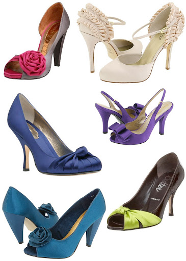 satin wedding shoes blue green purple Top left Magrit 39s Pink Peeptoe Pump