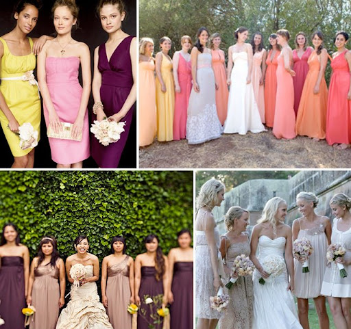 non matching bridesmaids dresses
