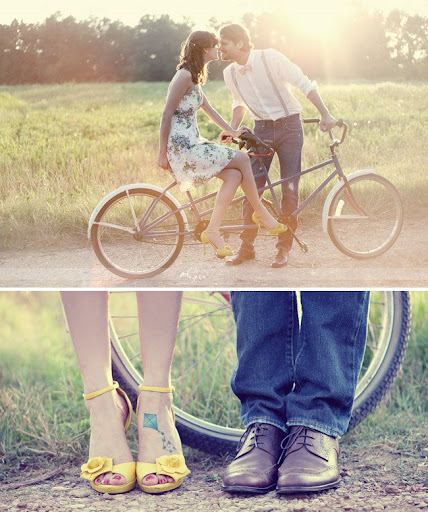 vintage inspired engagement session with a bike