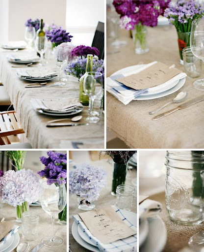 The shades of purple with burlap are so perfect