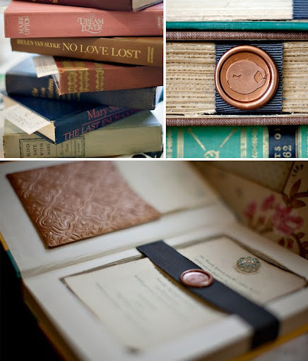 vintage books as wedding invitations The pocket on the left hand side is a