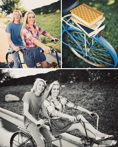 engagement photos riverside California with books and bike