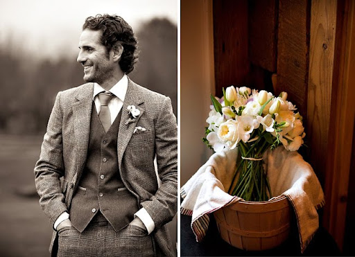 vintage groom and pretty flowers