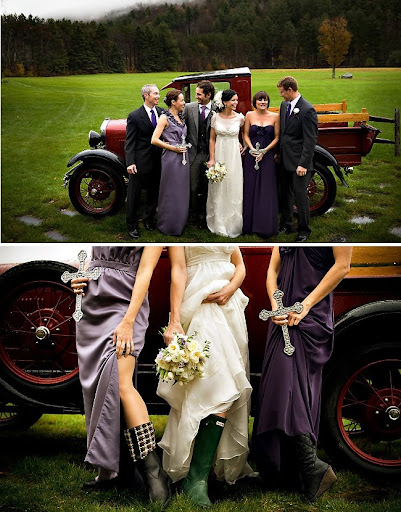 wedding party with galoshes and truck