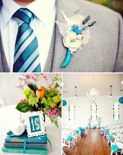 indoor wedding ceremony with blue tissue flowers