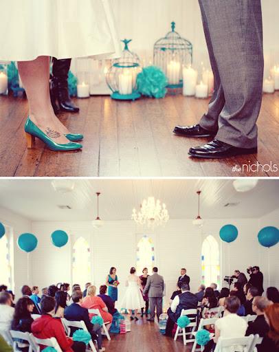 indoor wedding ceremony with balloons