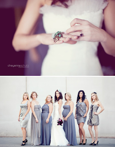 wedding ring bridesmaids non matching greys and purples