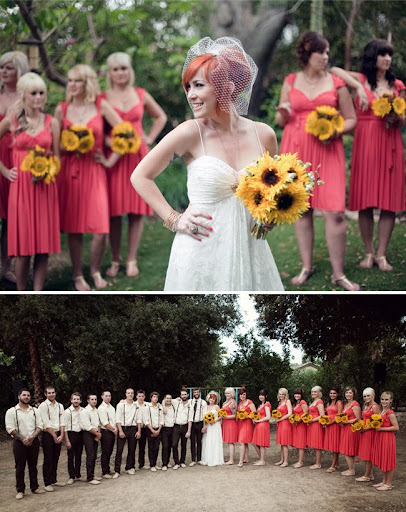 large bridal party pink dresses
