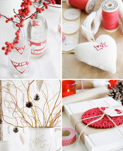 Red winter wedding centerpieces Beside white white winter decoration this