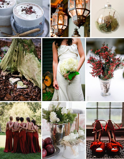 red and green winter wedding inspiration board