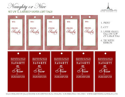 Freebie day 3 santa tags smitten blog designs these free printable gift tags are layered and can be attached by a ribbon to add that special north pole touch your kids will love negle Choice Image