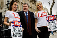 Derek Simpson with Daily Star P3 girls supporting BNP vehicle British Jobs for British Workers