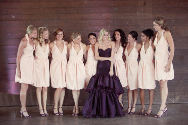 aubergine purple trumpet style wedding gown via Simply Bloom Photography