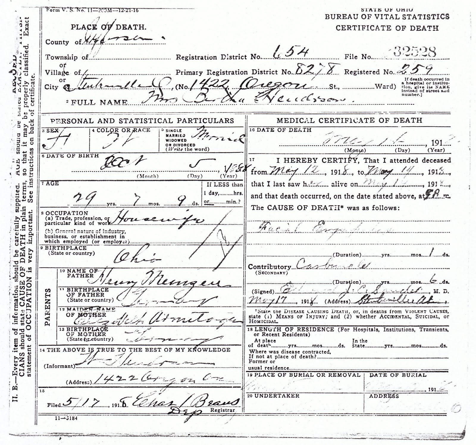My ancestors and me bertha meinzen henderson death certificate state of ohio bureau of vital statistics certificate of death place of death county of jefferson file no 32528 city of steubenville no xflitez Images