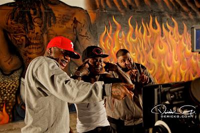 Imagen de Birdman, Lil Wayne y Dj Khaled en el rodaje del video de Welcome To My Hood del nuevo disco de Dj Khaled We The Best Forever