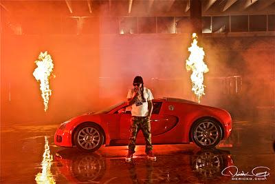 Imagen de Lil Wayne en el rodaje del video de Fire Flame Remix del disco Like Father, Like Son II
