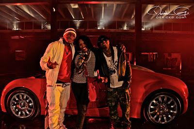 Imagen de Birdman y Lil Wayne en el rodaje del video de Fire Flame Remix del disco Like Father, Like Son II