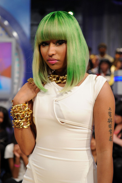 Nicki Minaj Green Hair Tattoo