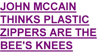 John McCain thinks plastic zippers are the bees knees