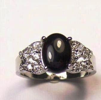OVAL BLACK DIAMOND SIMULATED