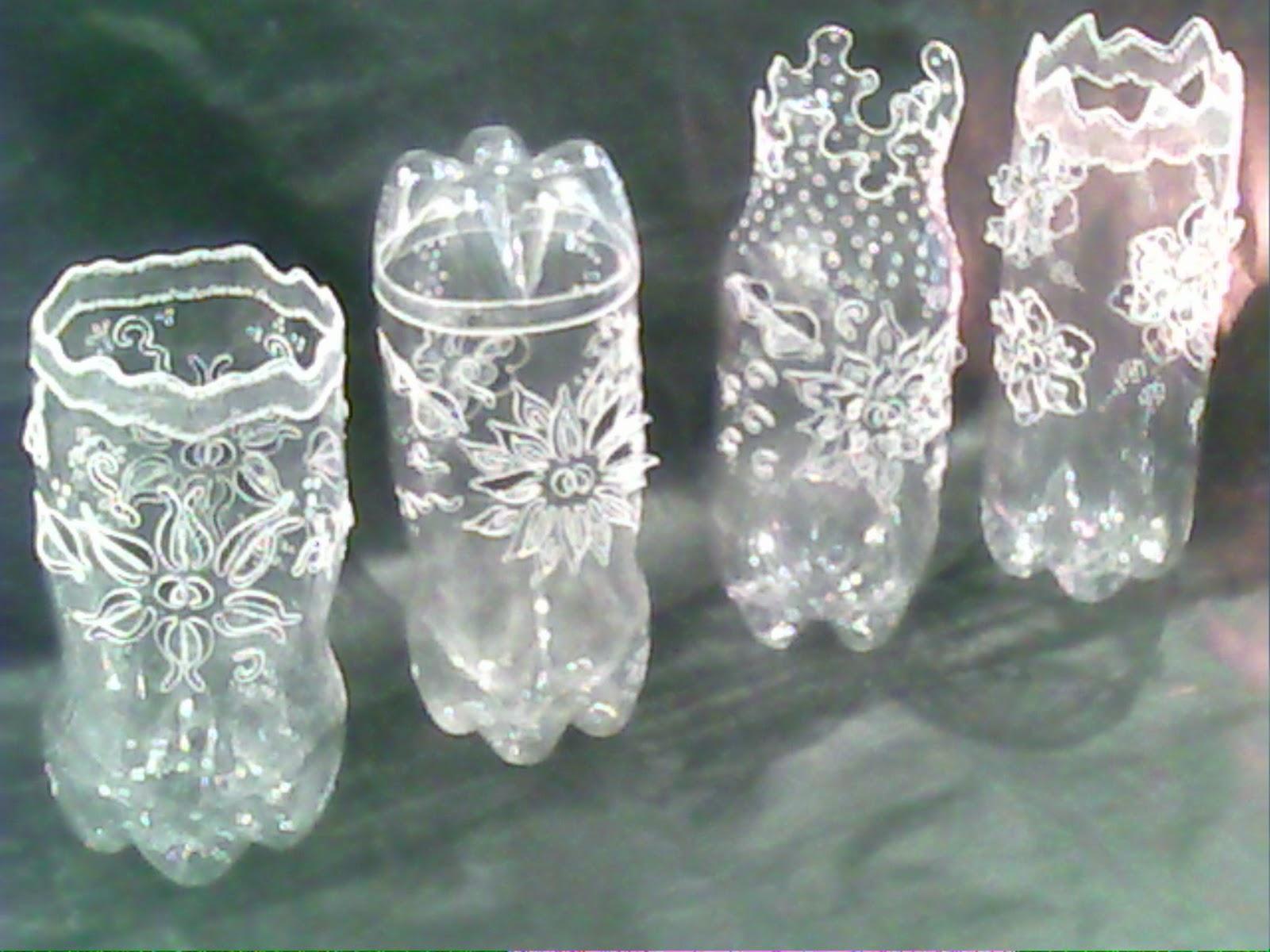 Garrafas Pet Decoradas 1 Vasos Ecológicos Suspensos Ou De Mesa