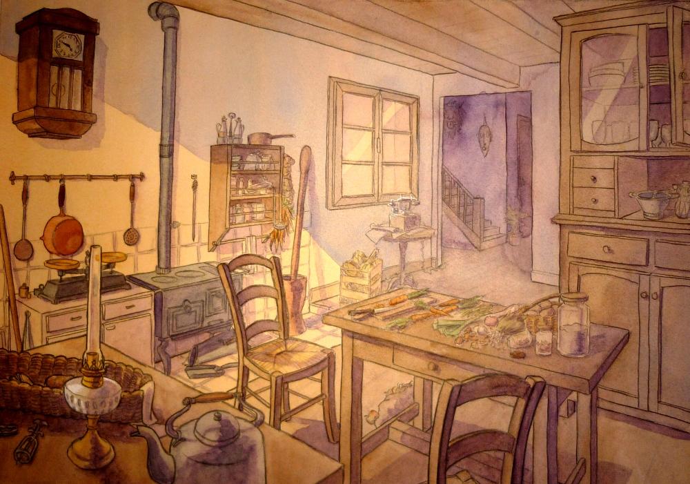 Noiramme la vieille cuisine - Vieille cuisine repeinte ...