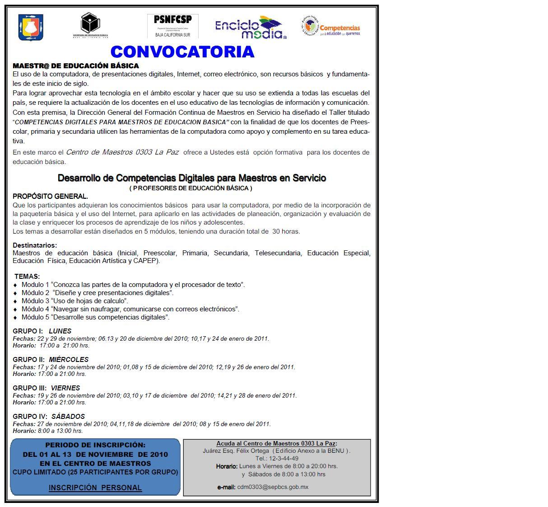 Centro de maestros 0303 la paz convocatoria desarrollo for Convocatoria de maestros