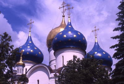 Blue onion skinned domes at Zagorsk