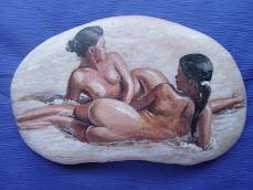 Pintura en piedra de río