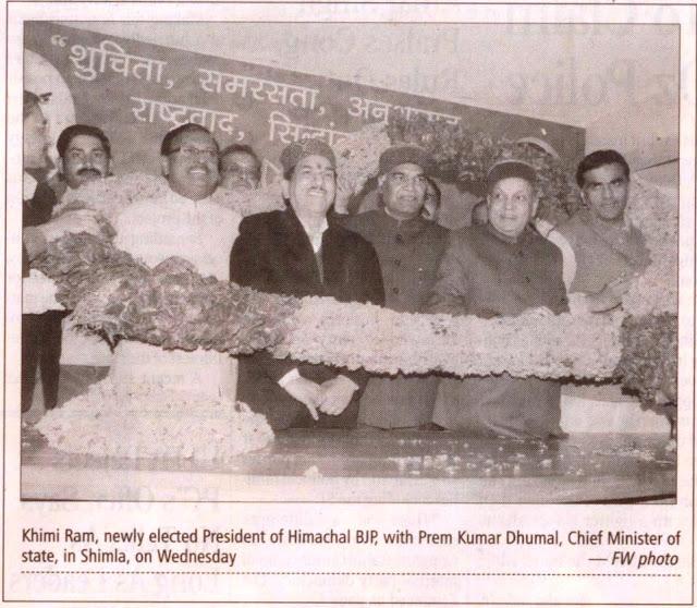 Khimi Ram, newly elected President of Himachal BJP, with Prem Kumar Dhumal, Chief Minister of State & Satya Pal Jain, Prabhari Himachal Pradesh, in Shimla