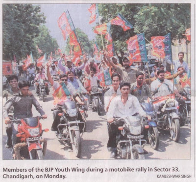 Members of the BJP Youth Wing during a motobike rally in Sector -33, Chandigarh on Monday.