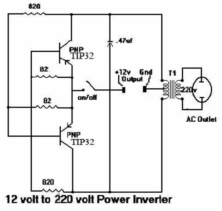 Rangkaian Sederhana Inverter 12v Dc
