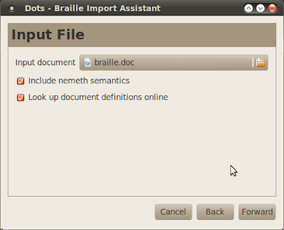 Dots braille typesetting program Import a file