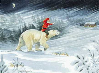 santa on polar bear