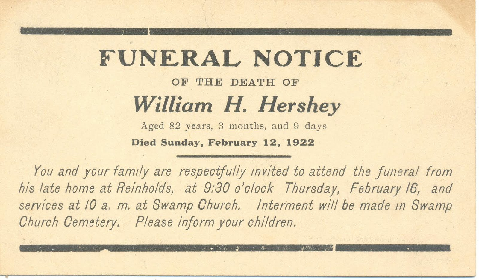 A Land Of Deepest Shade Death Memorabilia Part 4 Funeral Notices Hershey  Notice Death Memorabilia Part 4 Funeralhtml Memorial Service Invitation  Sample  Funeral Announcement Sample