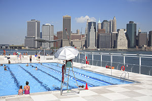 Escape From New York Floating Pool Brooklyn Bridge Park Beach