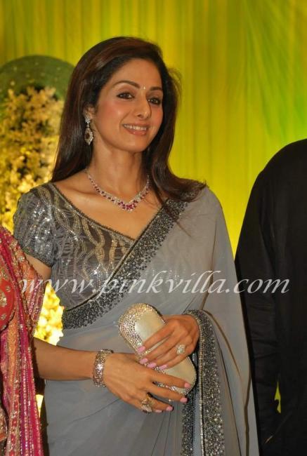 Vinod Nair Tulip Joshi Wedding Sridevi: Grey Sari