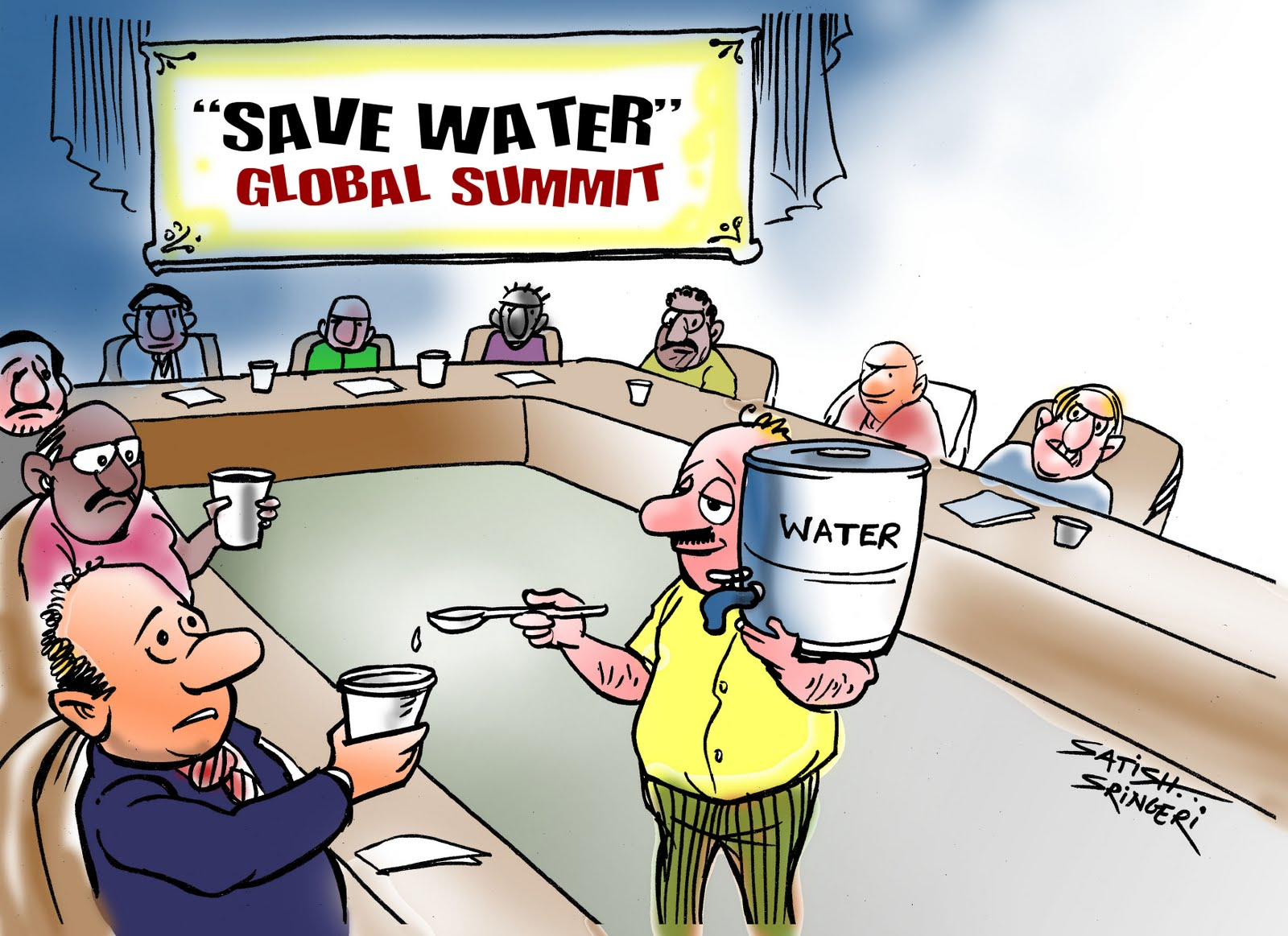 sringericartoons save water save water