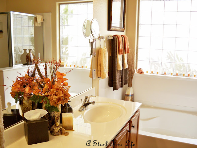 A stroll thru life fall for the bathroom for Fall bathroom sets