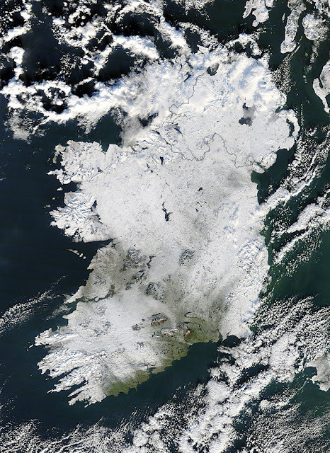 ICE AGE: Emerald Island Covered in White (NASA Photo of Ireland)  ireland+snow