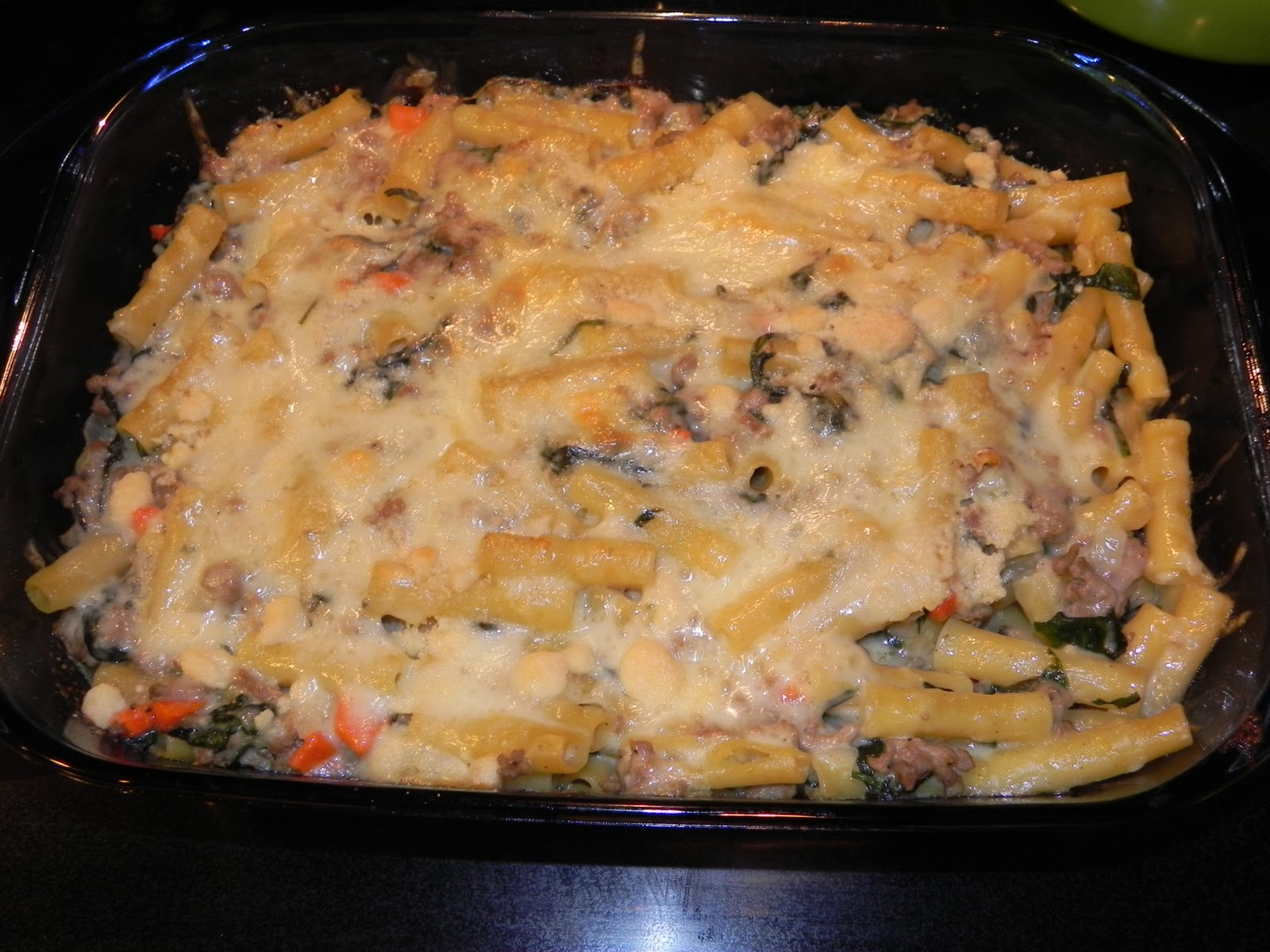 Farrah's Food Adventures: Baked Ziti with Spinach and Turkey