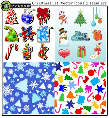 Christmas Set. Vector icons & seamless