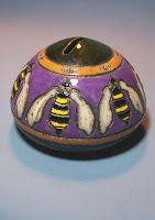 Raku Bank with Art Nouveau Bee Motif, Anne &amp; Lowell Webb