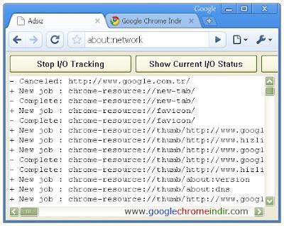 Google Chrome Network Kayıtları