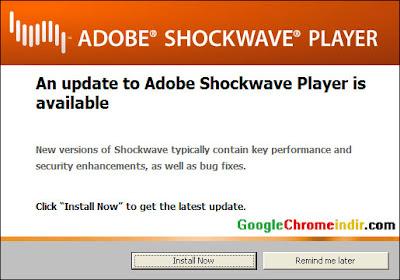 Adobe Shockwave Güncellenme Uyarısı